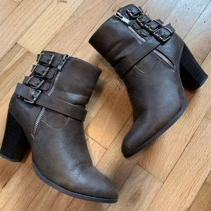 Just Fab Brown Buckle Detail Ankle Boots